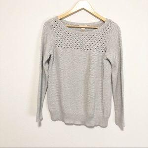 Loft Cotton Textured Grey Pullover Sweater